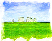 Historic Site Digital Art Framed Prints - Dreamy Stonehenge on the Salisbury Plain Framed Print by Mark E Tisdale