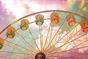 Surreal Pink Carnival Photography Framed Prints - Dreamy Summer Carnival Festival Ferris Wheel - Dreamy Pink Ferris Wheel Carnival Festival Rides Framed Print by Kathy Fornal