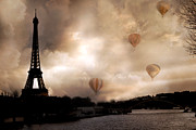 Sepia Photos Posters - Dreamy Surreal Eiffel Tower Hot Air Balloons Sepia Poster by Kathy Fornal