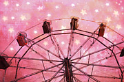 Pink Photos Prints - Dreamy Surreal Fantasy Carnival Ride - Pink Ferris Wheel With White Stars  Print by Kathy Fornal