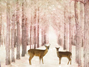 Woodlands Posters - Dreamy Surreal Fantasy Deer Woodlands Forest Poster by Kathy Fornal