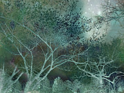 Fine Art Prints Photo Framed Prints - Dreamy Surreal Fantasy Teal Trees Nature  Framed Print by Kathy Fornal