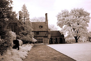 Surreal Infrared Sepia Nature Prints - Dreamy Surreal Infrared Meadowbrook Mansion Print by Kathy Fornal