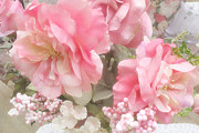 Abstract Floral Art Photos - Dreamy Vintage Cottage Shabby Chic Pink Roses by Kathy Fornal