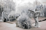 Inspirational Angel Art Prints - Dreamy White Angel Fantasy Infrared Nature Print by Kathy Fornal