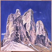 Mountain Climbing Paintings - Drei Zinnen by Fritz Engelhardt