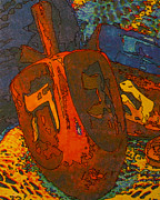 Printmaking Prints - Dreidel Print by Judith Rothenstein-Putzer