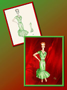 Fashions Drawings Posters - Dress Design 27 Poster by Judi Quelland
