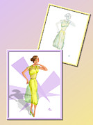 Fashions Drawings Posters - Dress Design 31 Poster by Judi Quelland
