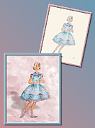 Fashion Design Drawings Framed Prints - Dress Design 4 Framed Print by Judi Quelland