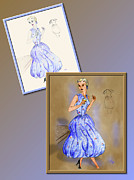 Fashion Design Drawings Framed Prints - Dress Design 6 Framed Print by Judi Quelland