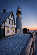 New England Lighthouse Prints - Dressed for the Holidays Print by Benjamin Williamson