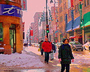 Telus Prints - Dressed For Winter Walk Beautiful Day Telus Mobility Rue St Catherine Downtown Mtl Scenes C Spandau Print by Carole Spandau