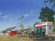 Biplane Paintings - Dresser Field by C Robert Follett