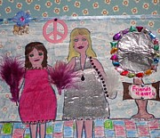 Girls Mixed Media - Dressing Up in the 1970s by Teca Burq-Art