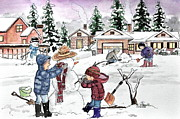Snowy Trees Drawings - Dressing up snowman by Gertrude Asplund