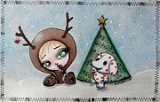 Rudolph Mixed Media Prints - Dressing Up With Misfit Toys Print by Lizzy Love of Oddball Art Co
