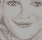 Star Drawings Posters - Drew Barrymore Poster by Christy Brammer