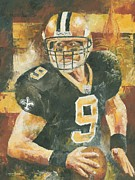 Quarterback Paintings - Drew Brees by Christiaan Bekker