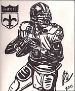 Drew Brees Print by Jeremiah Colley