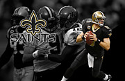Football Helmets Posters - Drew Brees Saints Poster by Joe Hamilton