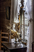 Hurricane Lamp Photos - Dried Flowers and Oil Lamp Still Life by Lynn Palmer
