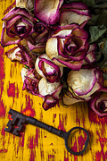 White Rose Photos - Dried pink roses and key by Garry Gay