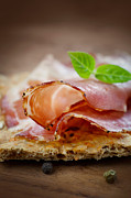 Italian Restaurant Prints - Dried pork collar salami Print by Mythja  Photography