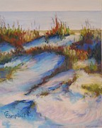 Sea Oats Pastels Prints - Drifting Dunes Print by Cecelia Campbell