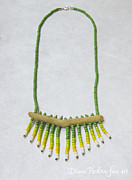 Beadwork Jewelry - Driftwood Necklace Green Yellow and White Glass Beads by Diana Pavlova