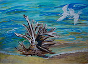 Veronica Rickard Prints - Driftwood on Lake Huron Print by Veronica Rickard