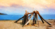 Rincon Beach Framed Prints - Driftwood Sculpture at Rincon Framed Print by Ron Regalado
