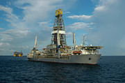 Offshore Drilling Framed Prints - Drill ship and platform Framed Print by Bradford Martin