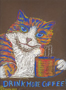 Cute Cat Pastels Prints - Drink More Coffee Print by Christine Callahan