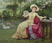 Flowers And Women Prints - Drinking Coffee and Reading in the Garden Print by Edward Killingworth Johnson