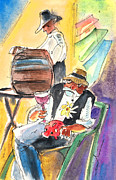 Canary Drawings Prints - Drinking Wine in Lanzarote Print by Miki De Goodaboom