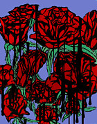 Tiffany Mixed Media Prints - Dripping Red Roses on Parade Print by Tiffany Selig