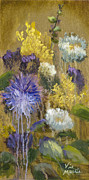 Aster Paintings - Drippy Bouquet with Gold Leaf by Vic Mastis by Vic  Mastis