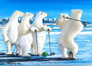 Polar Bears Paintings - Drive for Show by Bob Patterson