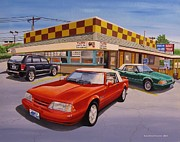 Ford Mustang Painting Framed Prints - Drive-In Trio Framed Print by Robert VanNieuwenhuyze