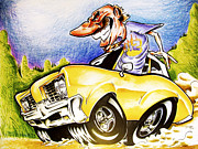 Caricature Artist Posters - Drivin around in my Automobile  Poster by Big Mike Roate
