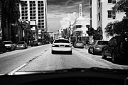 Collins Avenue Prints - Driving Along Collins Ave In Miami South Beach Following A Yellow Cab Florida Usa Print by Joe Fox