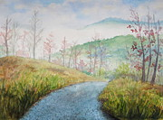 Gravel Road Painting Framed Prints - Driving Down the Mountain Framed Print by Sheena Kohlmeyer