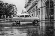 Oldtimer Metal Prints - Driving in the Rain Metal Print by Erik Brede
