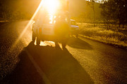 Automobile Photo Prints - Driving into the Sun Print by Colin and Linda McKie