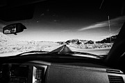 Windscreen Prints - Driving Near Entrance To Valley Of Fire State Park Valley Of Fire Highway Nevada Usa Print by Joe Fox