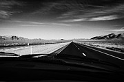 Windscreen Prints - Driving On Interstate15 Through The Great Basin Nevada Usa Print by Joe Fox