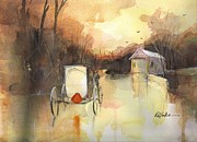 Amish Buggy Paintings - Driving On by Robert Yonke