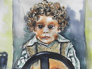 Portraits Art - Driving the Taxi by Chrisann Ellis