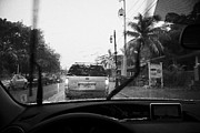 Windscreen Prints - Driving Through Heavy Storm Weather In Key West Florida Usa Print by Joe Fox